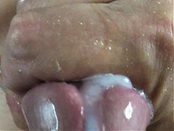 Closeup lotta precum and cum