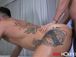 Inked Joao Miguel rimmed and barebacked after cock sucking