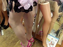 Preowned glossy 20 den pantyhose in Cashmere, pink negligee